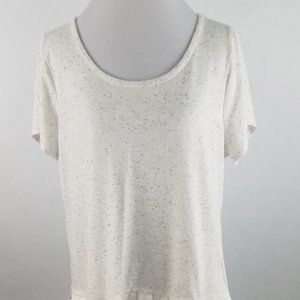 Lane Bryant Womens Knit Top  White Ruffled